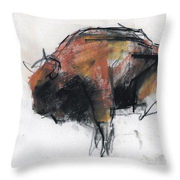 Zubre  Bialowieza Throw Pillow by Mark Adlington