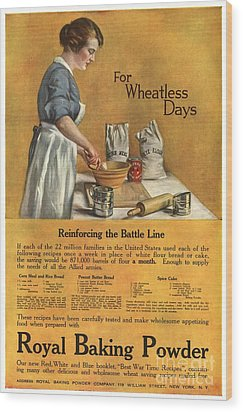1918 1910s Usa Cooking Royal Baking Wood Print by The Advertising Archives