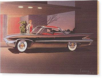 1960 Desoto Classic Styling Design Concept Rendering Sketch Wood Print by John Samsen