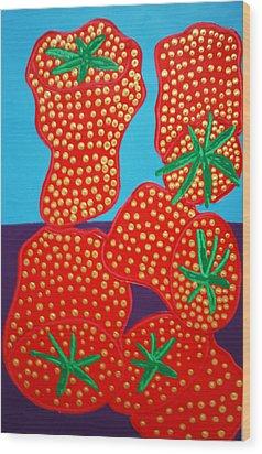 5 Big Strawberries Wood Print by Matthew Brzostoski