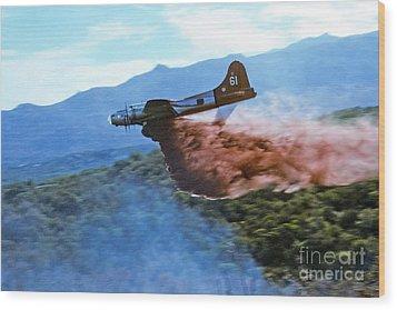 Wood Print featuring the photograph  B-17 Air Tanker Dropping Fire Retardant by Bill Gabbert