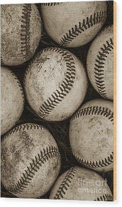 Baseballs Wood Print by Diane Diederich