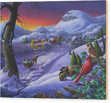 Christmas Sleigh Ride Winter Landscape Oil Painting - Cardinals Country Farm - Small Town Folk Art Wood Print by Walt Curlee
