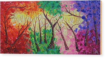 Colorful Mystical Forest Wood Print by Julia Apostolova