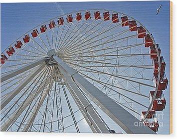 Ferris Wheel Wood Print by Oleksandr Koretskyi