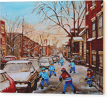 Hockey Art- Verdun Street Scene - Paintings Of Montreal Wood Print by Carole Spandau