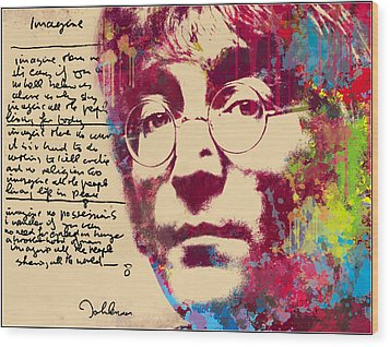 -imagine-john Lennon Wood Print by Vitaliy Shcherbak