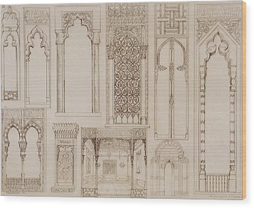 Islamic And Moorish Design For Shutters And Divans Wood Print by Jean Francois Albanis de Beaumont