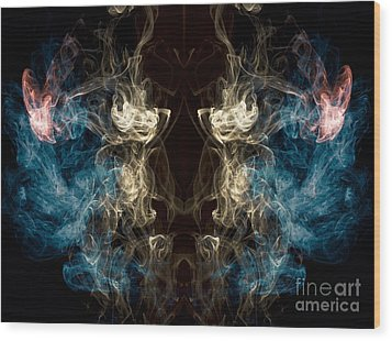 Minotaur Smoke Abstract Wood Print by Edward Fielding