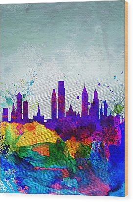Philadelphia Watercolor Skyline Wood Print by Naxart Studio
