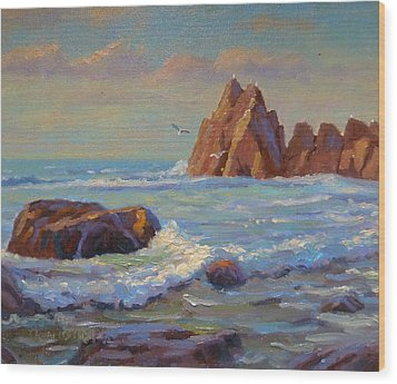 Rocks West Coast Wood Print by Terry Perham