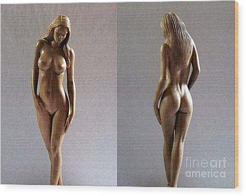 Wood Sculpture Of Naked Woman Wood Print by Carlos Baez Barrueto