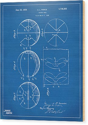 1929 Basketball Patent Artwork - Blueprint Wood Print by Nikki Marie Smith