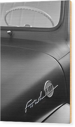 1953 Ford F-100 Pickup Truck Steering Wheel And Emblem Wood Print by Jill Reger