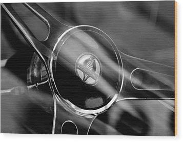 1965 Ford Mustang Cobra Emblem Steering Wheel Wood Print by Jill Reger