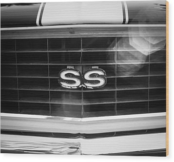 1969 Chevrolet Camaro Rs-ss Indy Pace Car Replica Grille Emblem Wood Print by Jill Reger