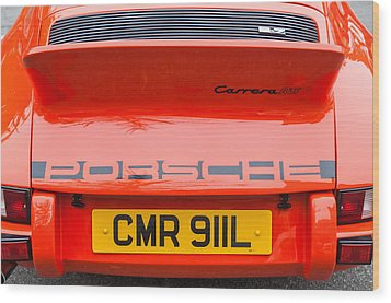 1973 Porsche 911 Carrera Rs Lightweight Rear Emblem Wood Print by Jill Reger