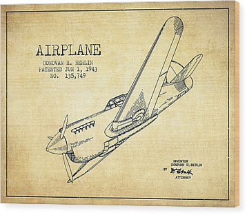 Airplane Patent Drawing From 1943-vintage Wood Print by Aged Pixel