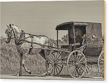 Amish Boy Tips Hat Wood Print by Robert Frederick