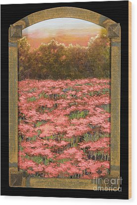 Arched Morning Orange Poppy Field W Frame Wood Print by Vic  Mastis