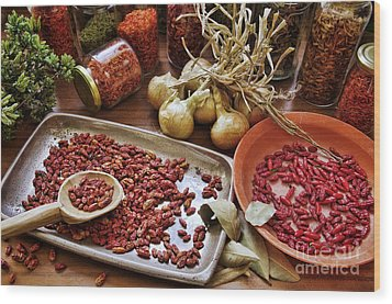 Assorted Spices Wood Print by Carlos Caetano