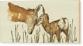 Bambi Deer Wood Print by Juan  Bosco
