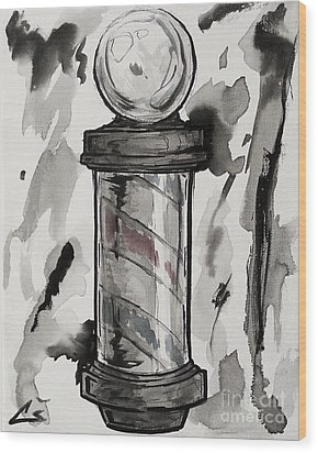Barber Pole Wood Print by Chuck Styles