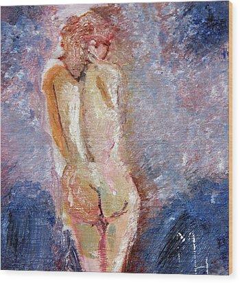 Bashful Nude Wood Print by Michael Helfen