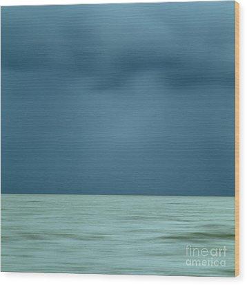 Blue Sea Wood Print by Bernard Jaubert