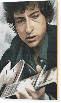 Bob Dylan Artwork Wood Print by Sheraz A