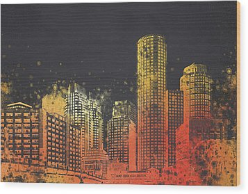 Boston City Skyline Wood Print by Aged Pixel