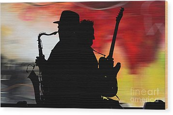 Bruce Springsteen Clarence Clemons Wood Print by Marvin Blaine