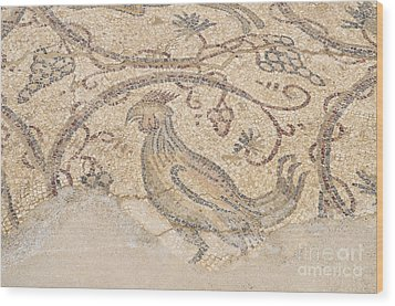 Byzantine Mosaic Depicting Animals And Hunting Scenes. Wood Print by Shay Levy