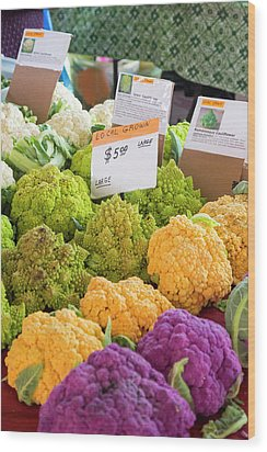 Cauliflower Market Stall Wood Print by Jim West