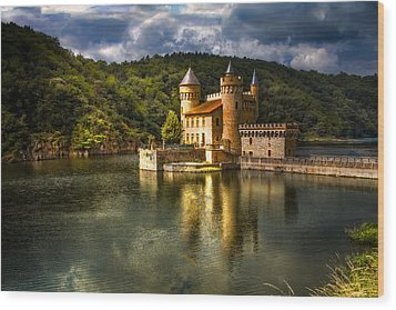 Chateau De La Roche Wood Print by Debra and Dave Vanderlaan