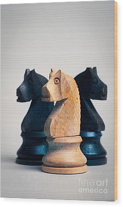 Chess Knights Wood Print by Mark Fearon