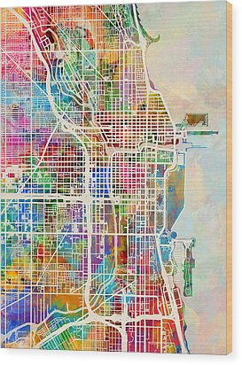 Chicago City Street Map Wood Print by Michael Tompsett