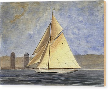 Classic Yacht Barcelona Wood Print by Juan  Bosco