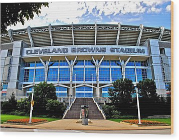 Cleveland Browns Stadium Wood Print by Frozen in Time Fine Art Photography