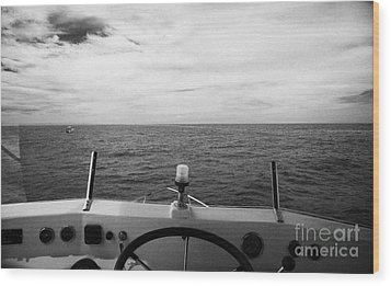 Controls On The Flybridge Deck Of A Charter Fishing Boat In The Gulf Of Mexico Out Of Key West Flori Wood Print by Joe Fox