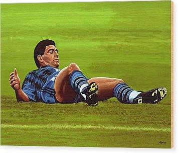 Diego Maradona Wood Print by Paul Meijering