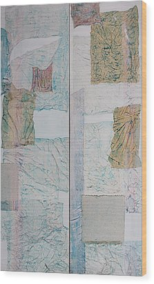 Double Doors Of Unfinished Projects In Blue  Wood Print by Asha Carolyn Young