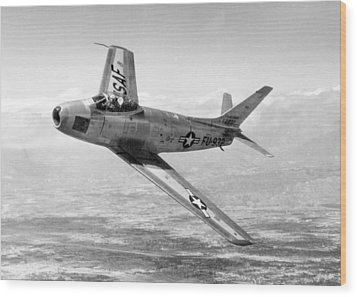 Wood Print featuring the photograph F-86 Sabre, First Swept-wing Fighter by Science Source