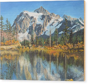 Fall Reflections - Cascade Mountains Wood Print by Mary Ellen Anderson
