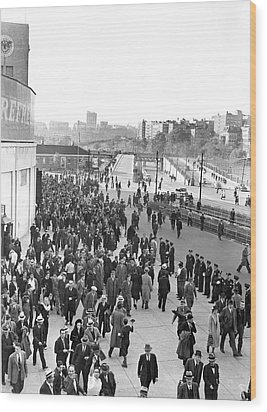 Fans Leaving Yankee Stadium. Wood Print by Underwood Archives