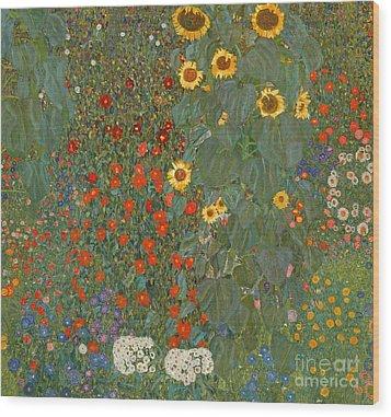 Farm Garden With Sunflowers Wood Print by Gustav Klimt