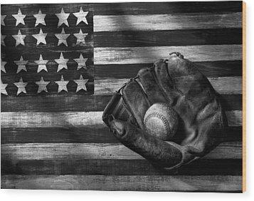 Folk Art American Flag And Baseball Mitt Black And White Wood Print by Garry Gay
