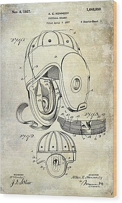 Football Helmet Patent Wood Print by Jon Neidert