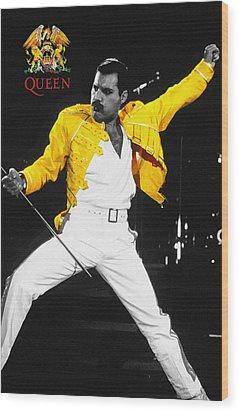 Freddie Mercury Live In Wembley1986    Wood Print by Don Kuing