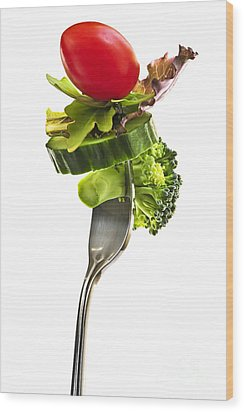 Fresh Vegetables On A Fork Wood Print by Elena Elisseeva